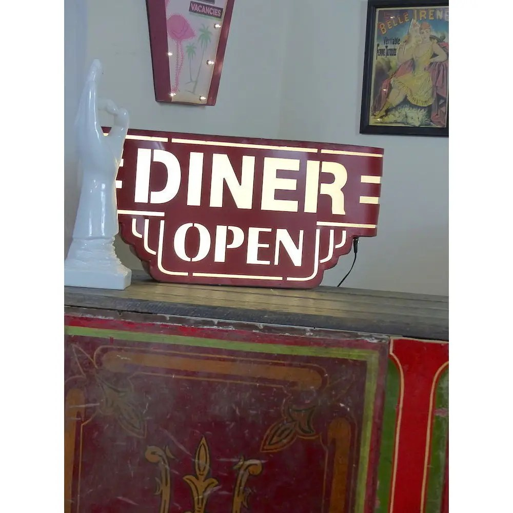american made kitchen cabinets bench table red wall diner sign light up metal box