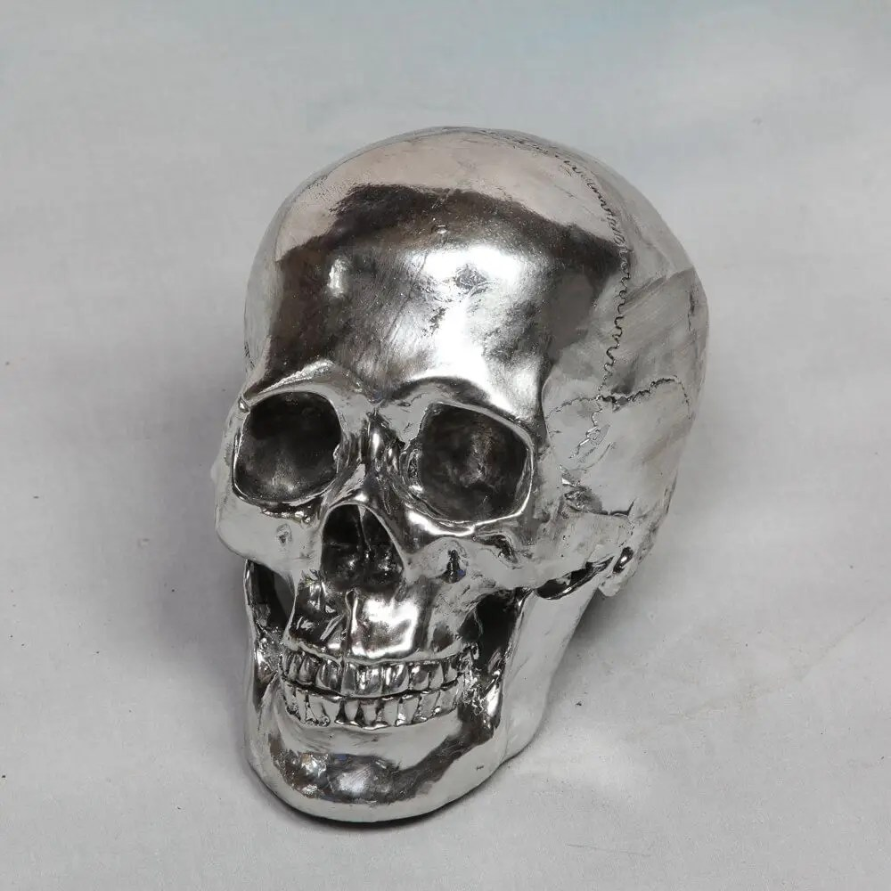 Silver White Bronze Skull Decorative Head Skeleton Vintage