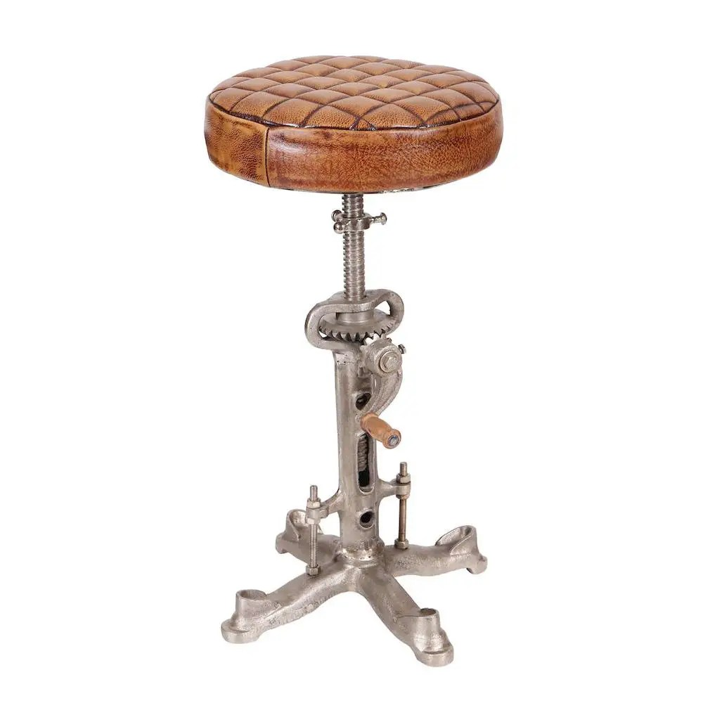 Industrial Leather Bar Stool With Swivel Wind Up