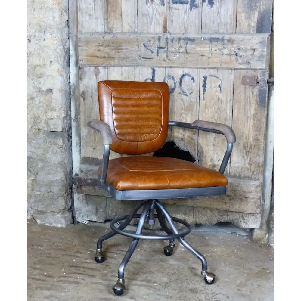 desk chair on wheels trex rocking chairs aviation • aviator industrial tan leather office