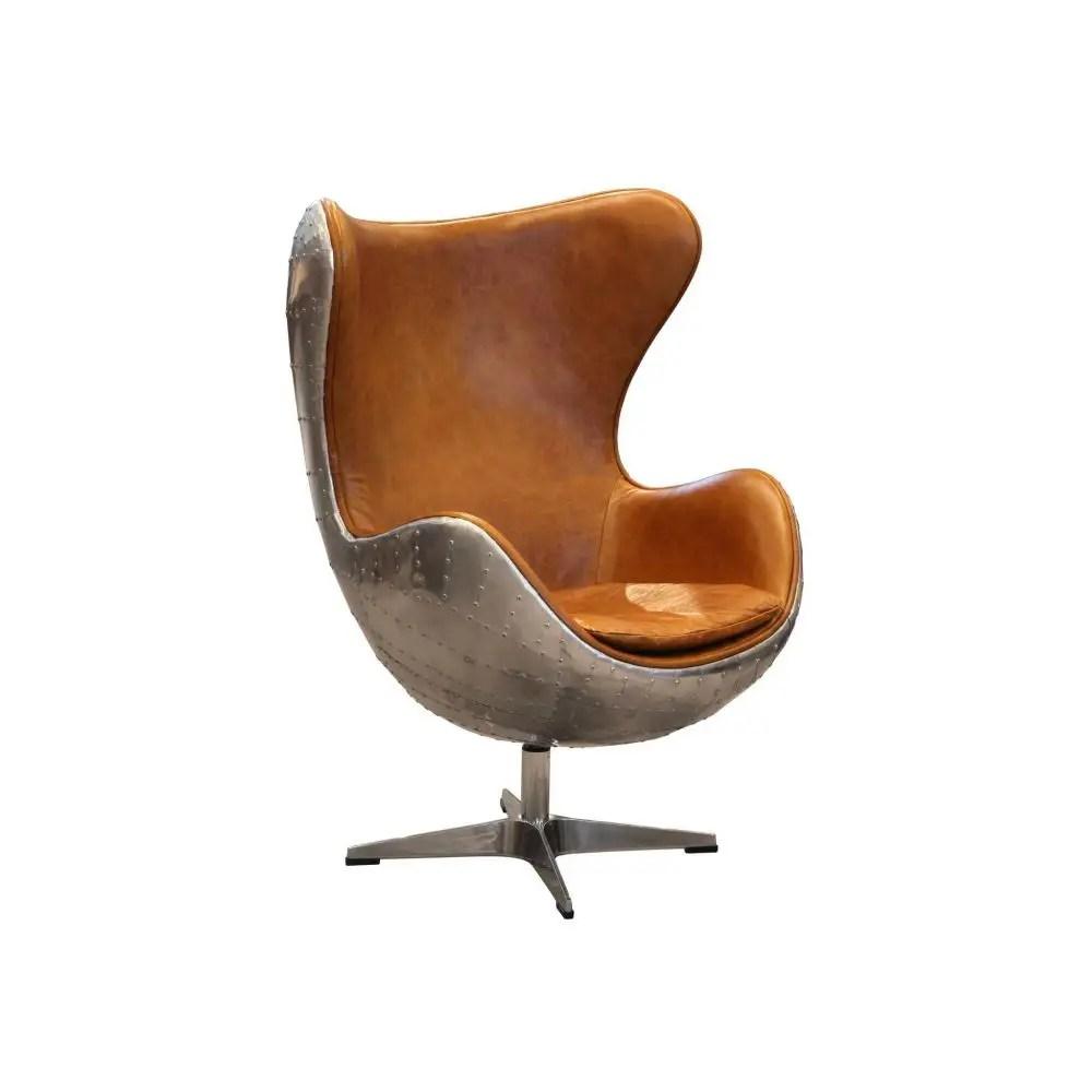 Retro Aviator Egg Chair  Vintage Retro Brown Leather Egg