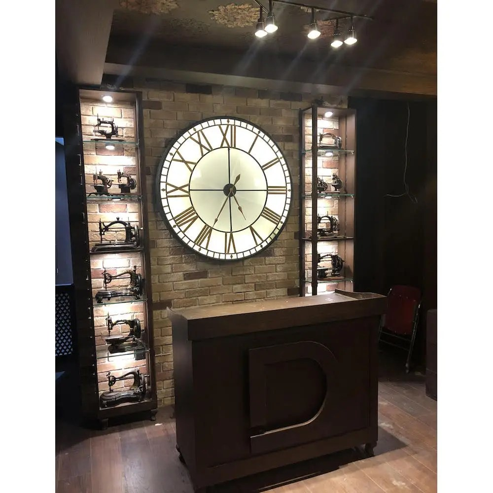 Large Big Ben Wall Clock Westminster Lights Up Glass