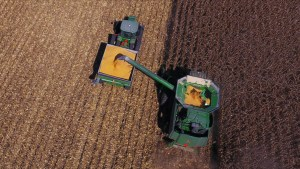 Smith Family Farms tractors harvesting field