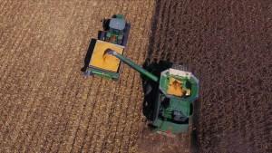 Smith Family Farms tractors harvesting field