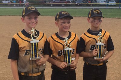 Sons in Blitz baseball uniforms holding trophies