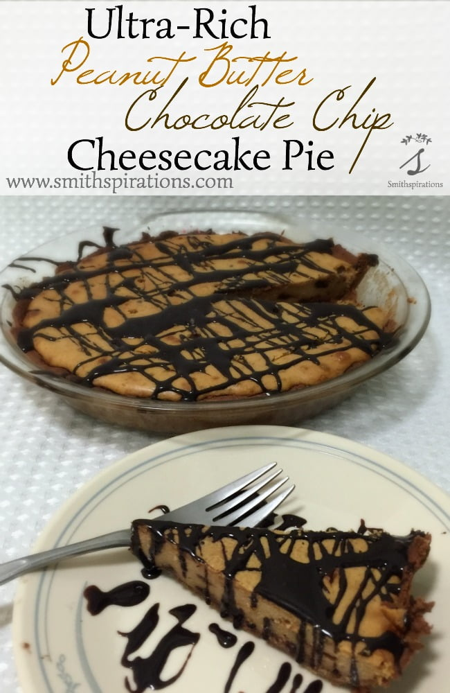 Ultra-Rich Peanut Butter Chocolate Chip Cheesecake Pie. An incredible desert for all peanut butter & chocolate lovers. It's grain and gluten-free, too!