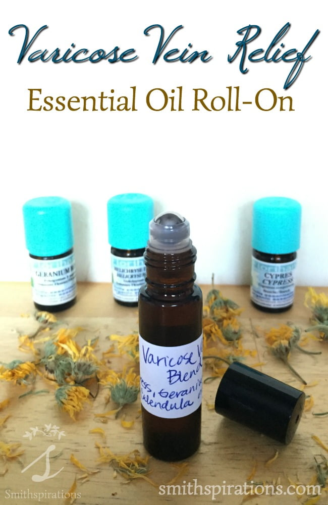 This essential oil blend helps provide relief from painful or annoying varicose veins. It's a great remedy to have on hand in a convenient roll-on bottle. Varicose Vein Relief Essential Oil Roll-On from Smithspirations