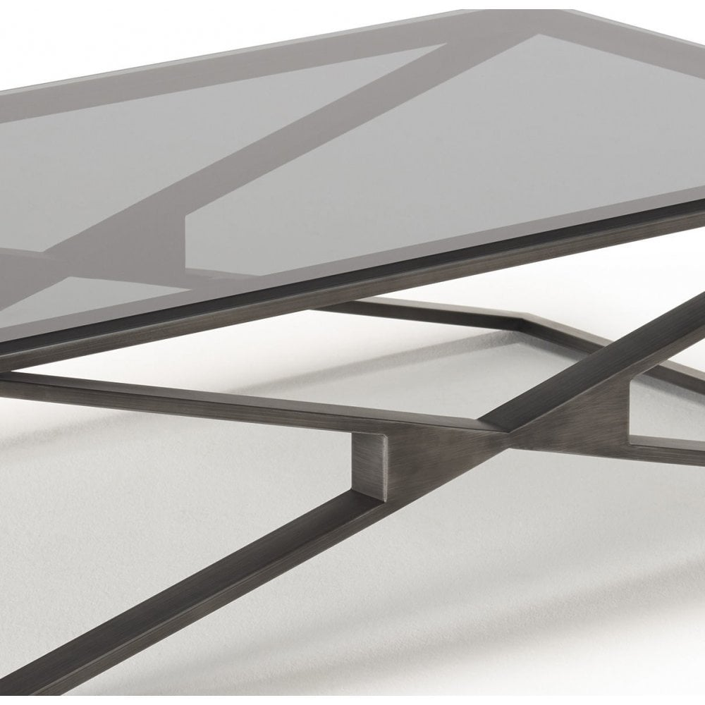 kesterport camille glass coffee table grey glass pewter frame