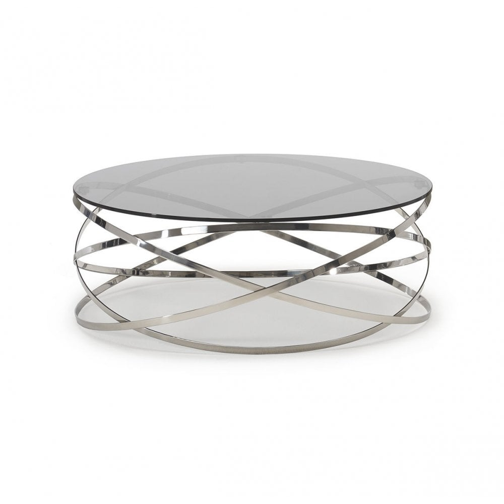 kesterport colorado circular glass coffee table clear glass polished steel frame