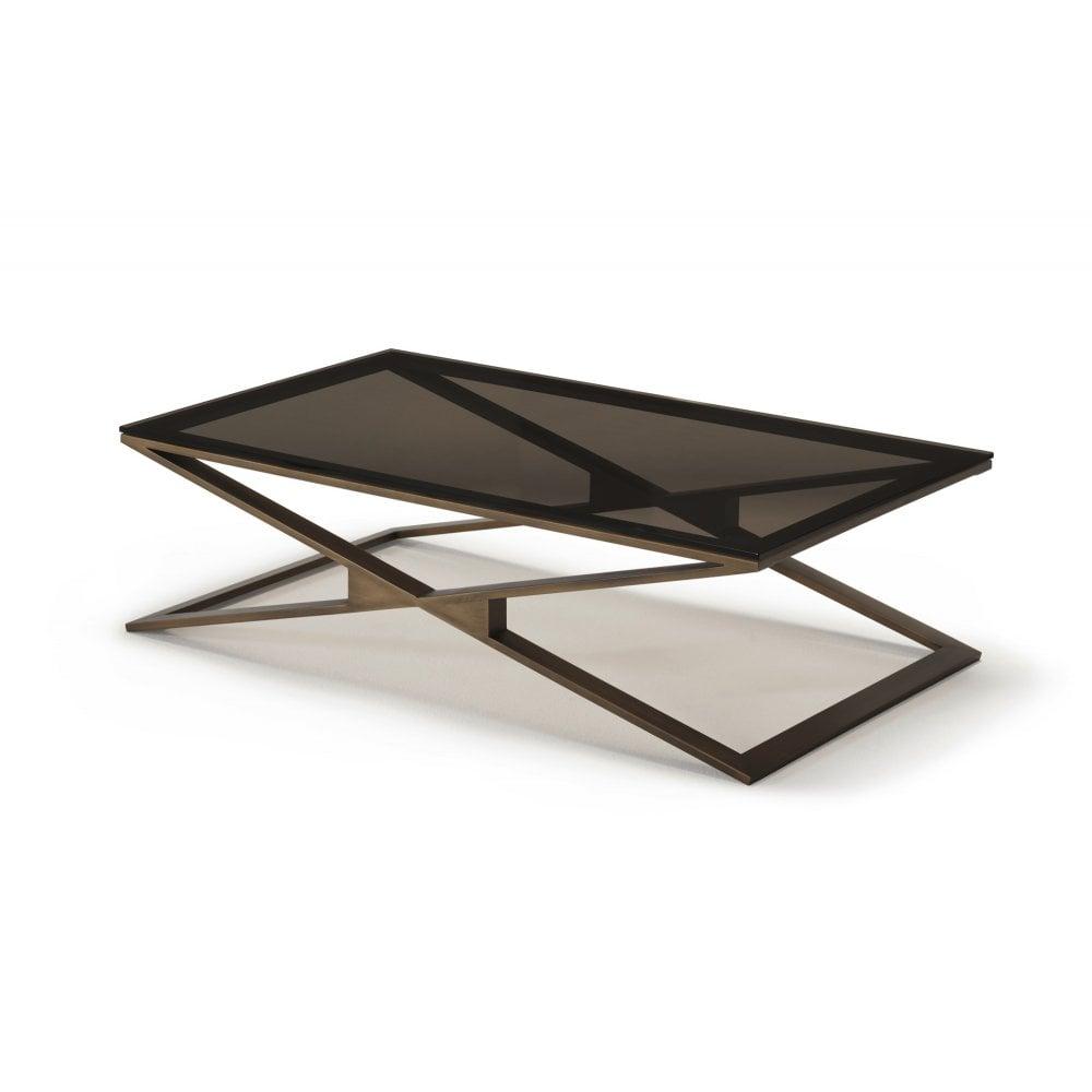 kesterport zara rectangular coffee table bronze glass brass frame