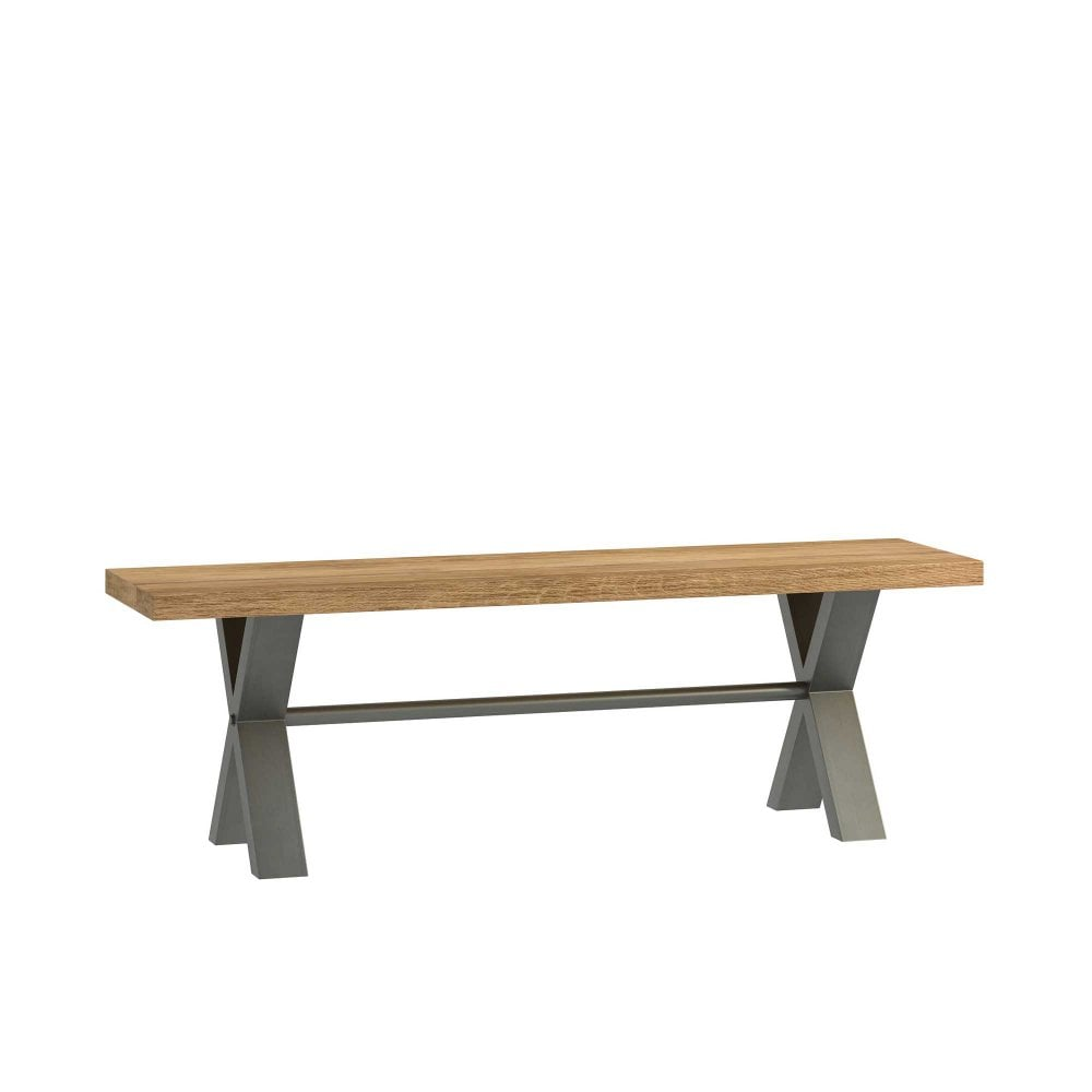 Bali 140cm Oak Bench Seat Industrial Style At Smiths The Rink
