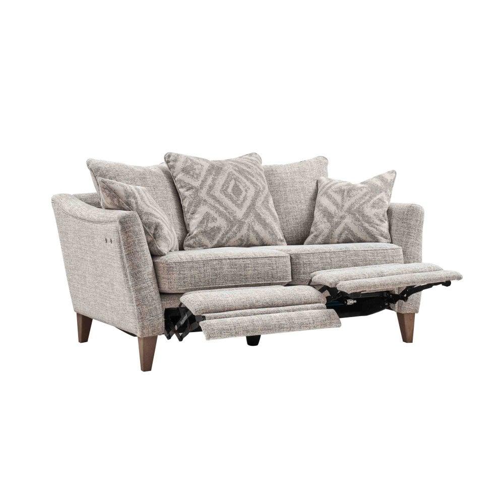 minerva isabel 2 seater electric footrest sofa scatter back