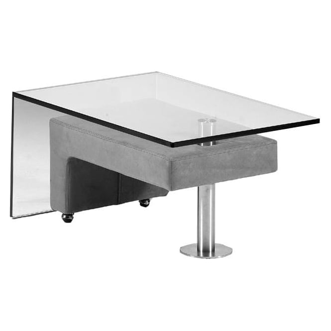 glass coffee table with integral leather stool