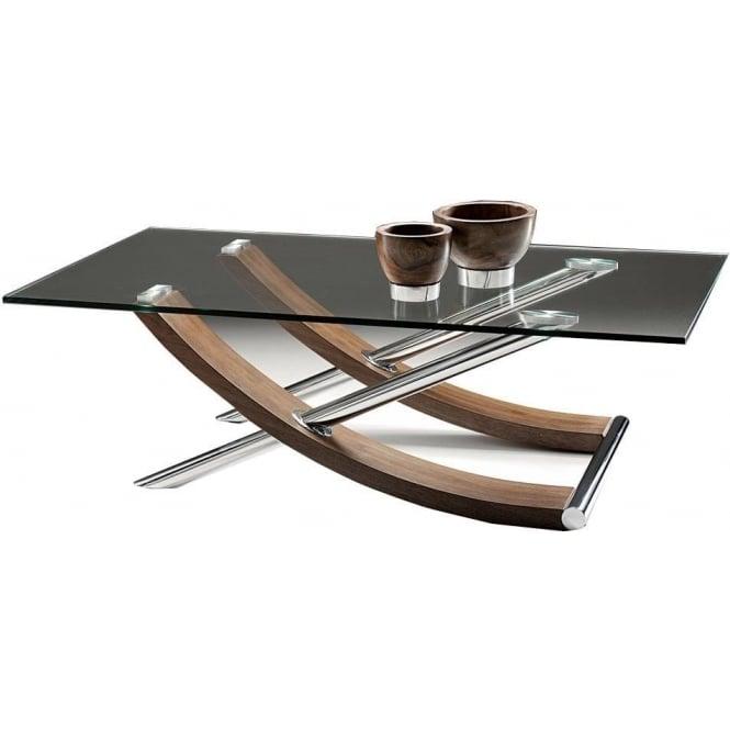 strand rectangular walnut glass coffee table