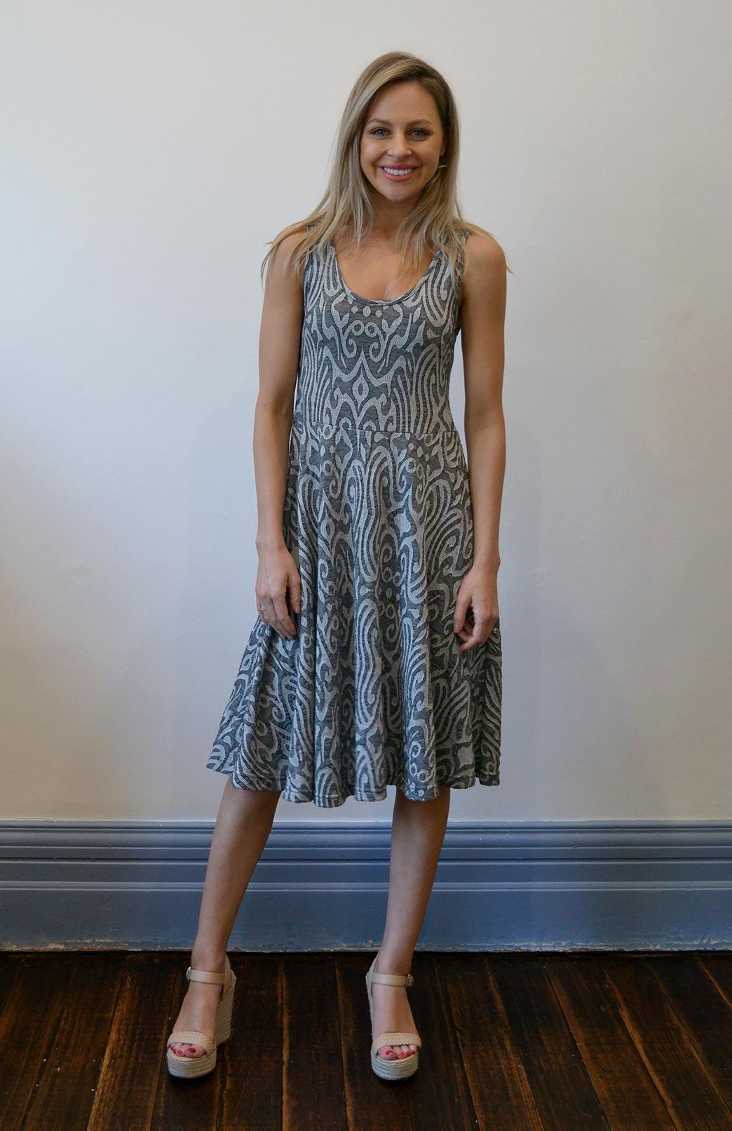 Sleeveless Jackie Dress | Women's Merino Wool Patterned Sleeveless Summer Dress | Smitten Merino Tasmania Australia
