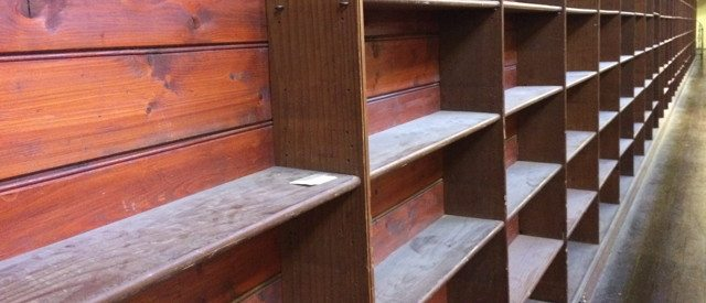 Empty dusty bookshelf