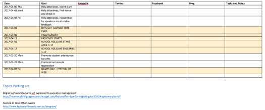 Social Media Editorial Calendar - identifying holidays