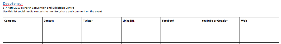 Social Media Contacts table example