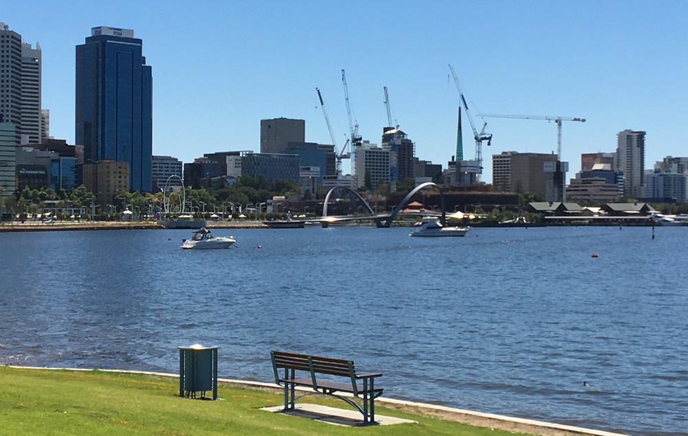 Perth CBD seen in Jan 2018 from The Narrows