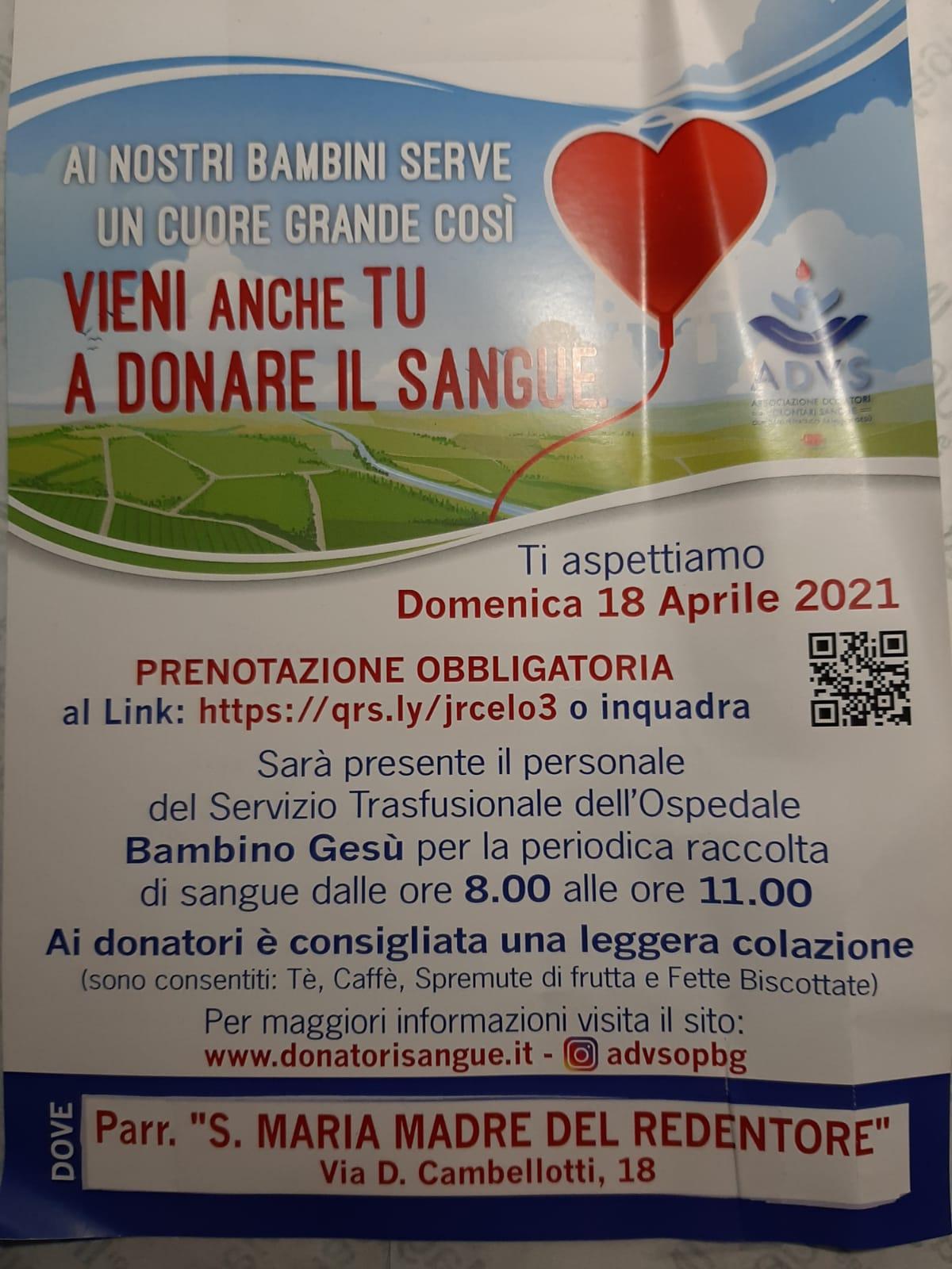 Donazione del sangue - 18 aprile 2021