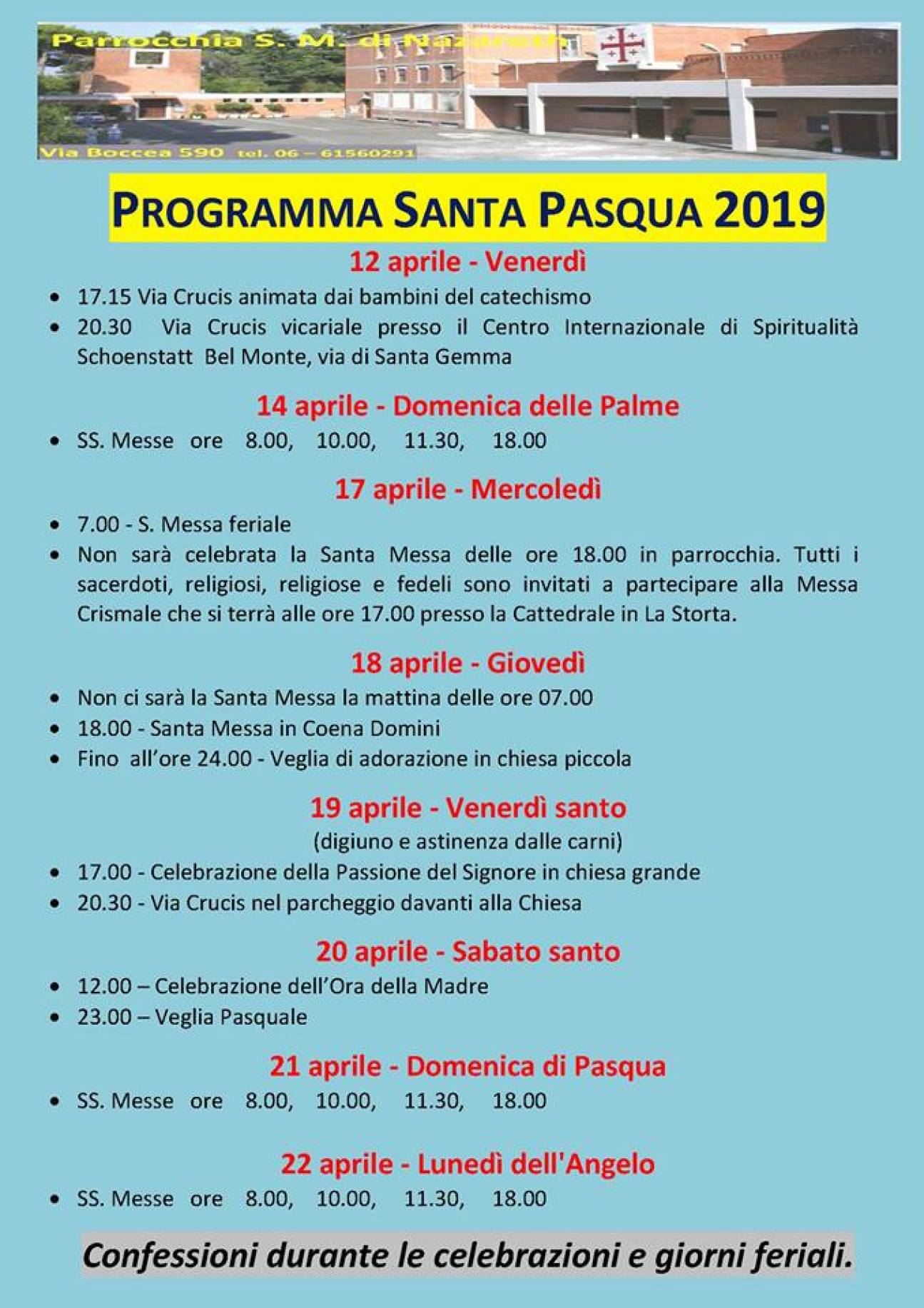 Programma Santa Pasqua 2019