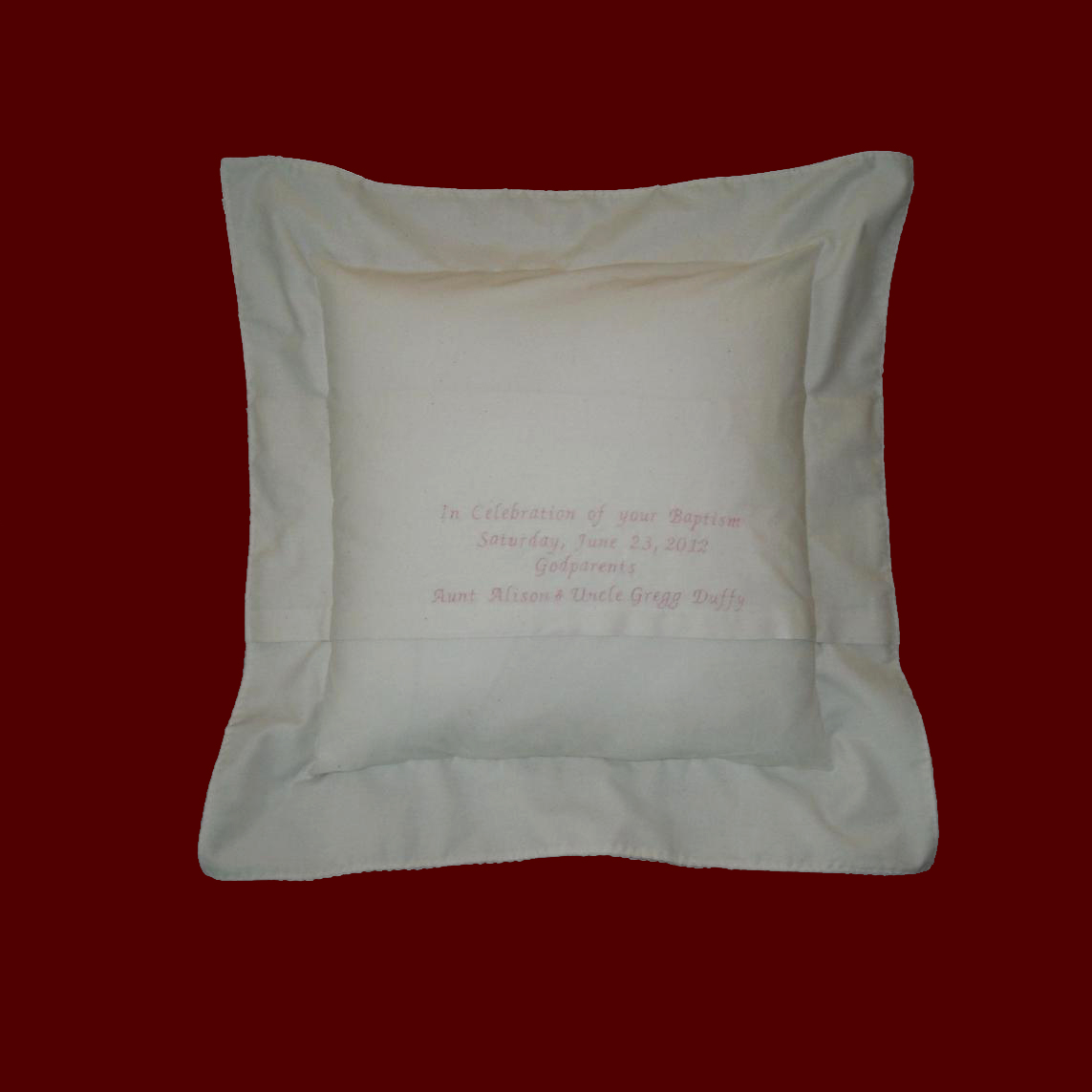 Muslin Keepsake Personalized Baby Pillow  Christening