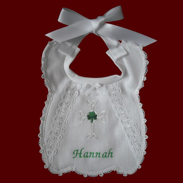 Bless Child Girls Christening Bib - Irish