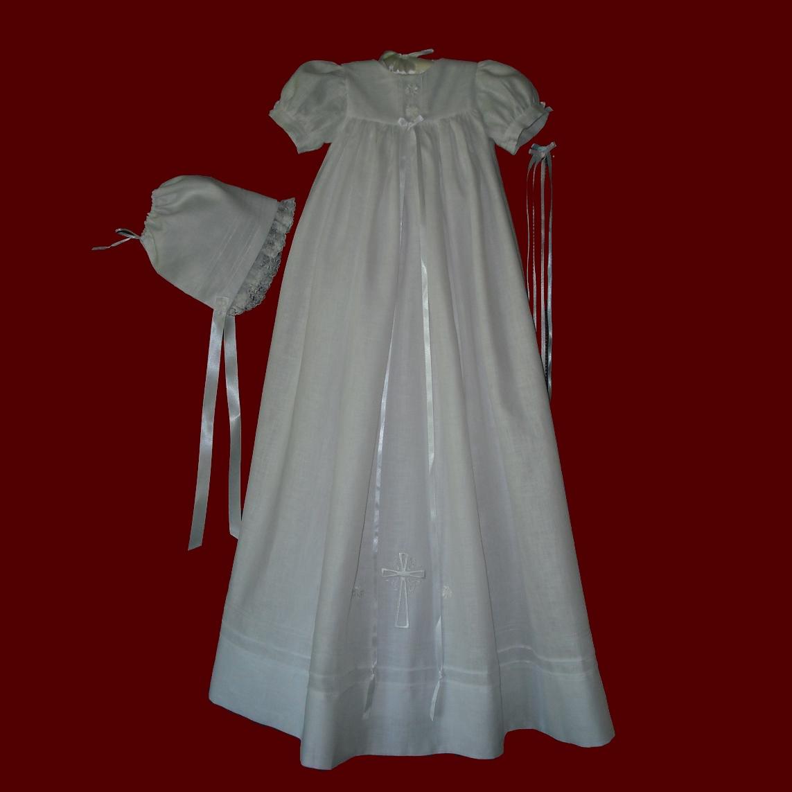 Unisex Embroidered Cross Irish Christening Gown  Irish