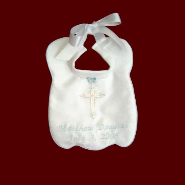 Boys Christening Bib - Bibs Smocked Treasures