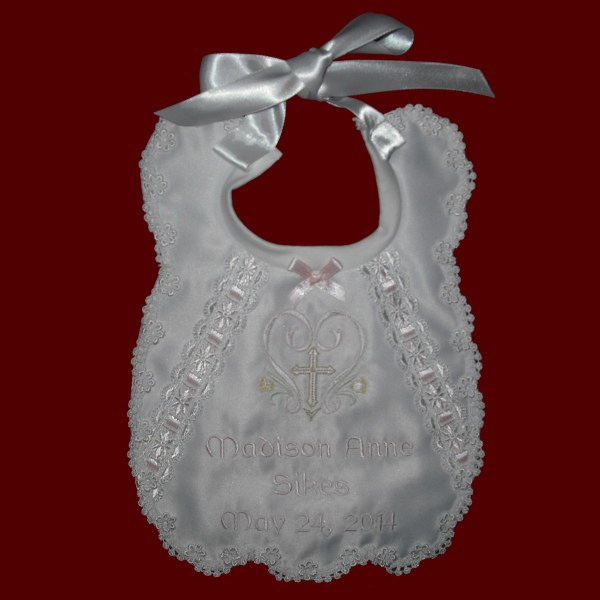 Girls Scalloped Personalized Christening Bib