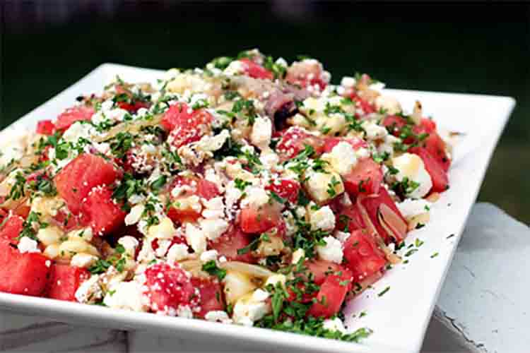 Grilled watermelon fennel salad