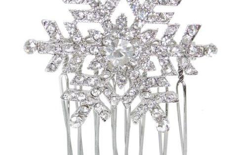 Ever Faith Austrian Crystal Winter Snowflake Hair Comb