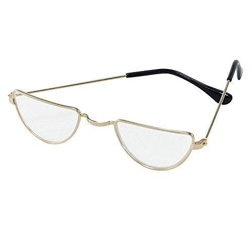 Deluxe Santa Claus Half Moon Spectacles Glasses Gold