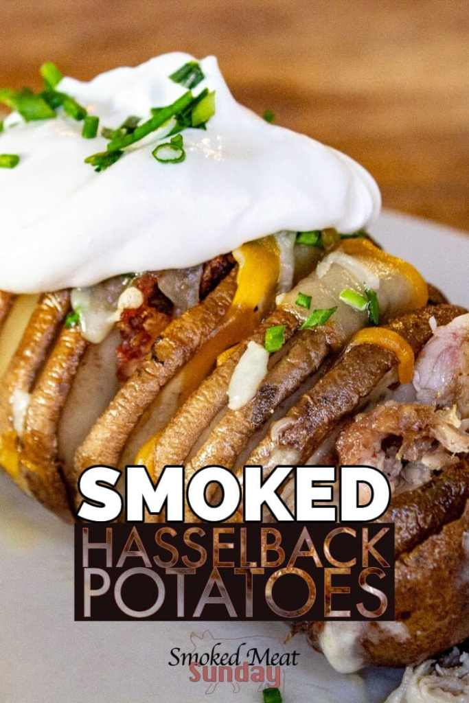 Are you looking for the best way to make potatoes? These smoked hasselback potatoes are so easy to make. Smoke kissed and loaded with flavor, you have to try these! Pellet Grill Recipes - Pulled Pork Leftovers Idea - Bacon - Chives - Smoker Recipes - Traeger Recipes