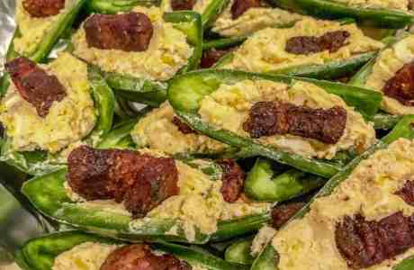 Jalapenos with cheese and pork belly filling