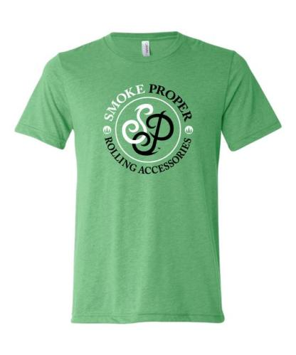 Green t-shirt white/black logo | Smoke Proper Rolling Accessories