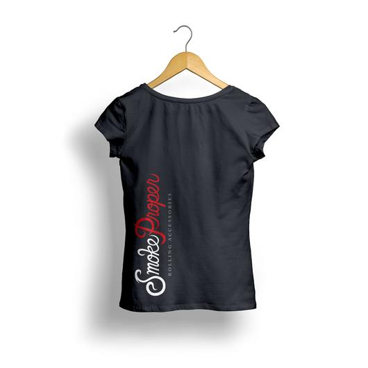 Girls Black T-shirt (back) white/red logo | Smoke Proper Rolling Accessories