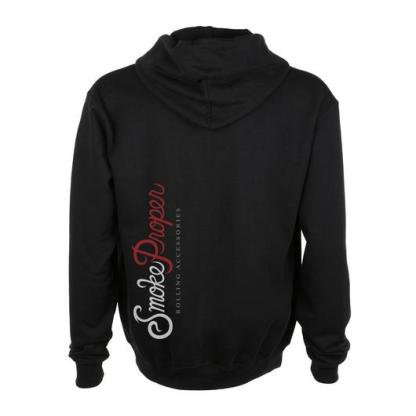 Black hoodie (back) white/red logo | Smoke Proper Rolling Accessories