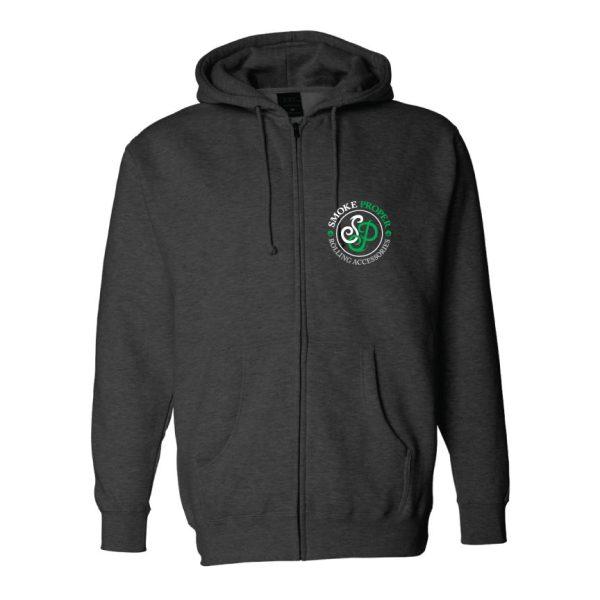 Black w/zip - Smoke Proper Hoodie Cabin Fever Design (Front)