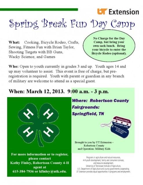4H Spring day Camp