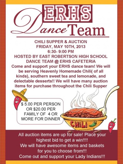 Dance team chili flyer