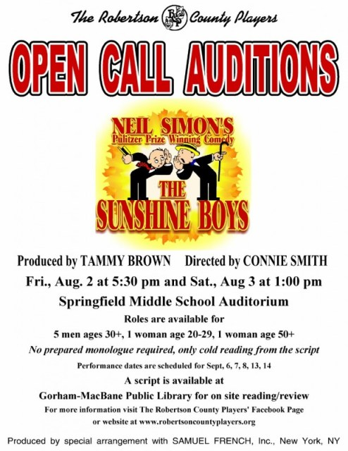 Sunshine auditions flyer