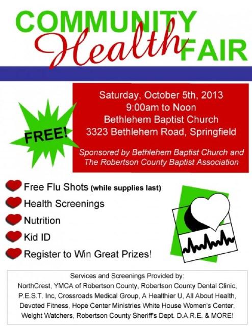 Communty Health fair flyer