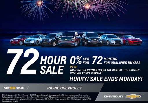 Payne Chevrolet 72 hour sale
