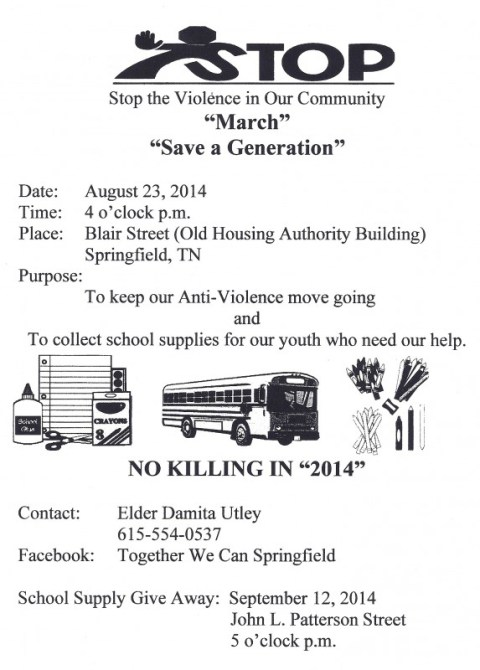 stop violence march flyer for aug 23