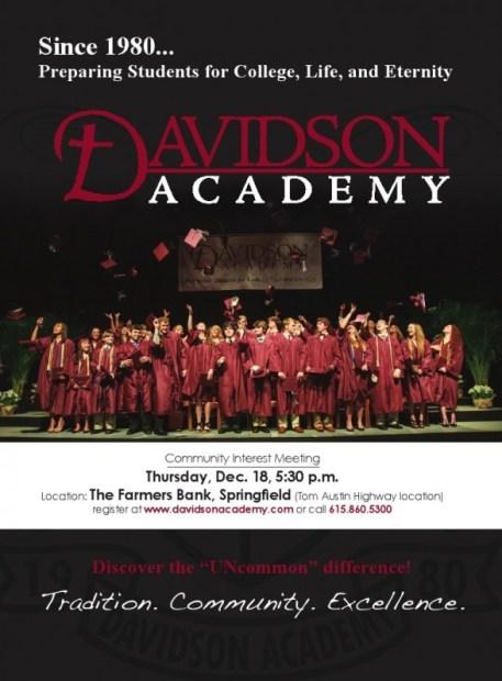 Davidson Academy flyer front a