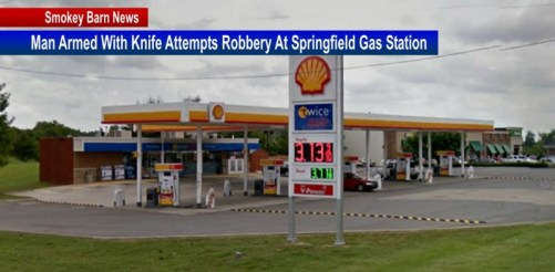 Man with knife robs gas station slider