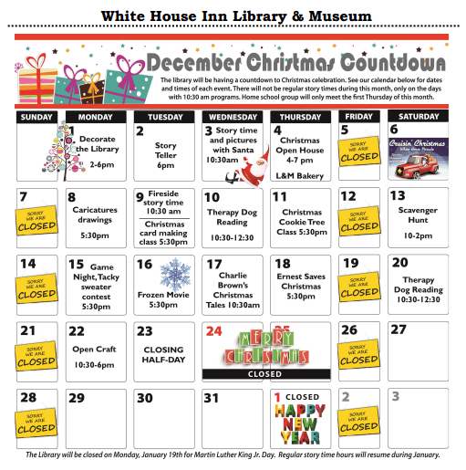 White House Library Dec calendar