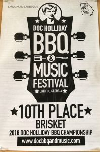 Smokin J's Barbeque 10th place Brisket finish