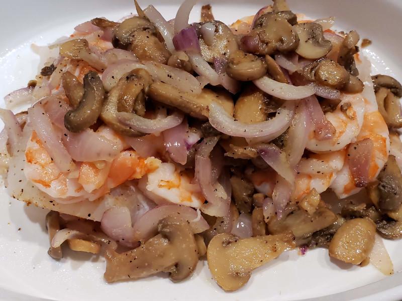 Cod, Shrimp, Onions & Mushrooms